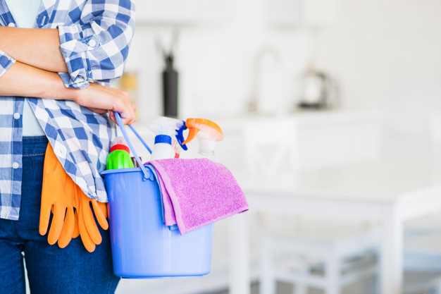 woman holding a bucket with cleaning supplies